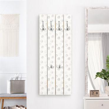 Wandgarderobe Holz - Aquarell Punkte Grau - Haken chrom Hochformat