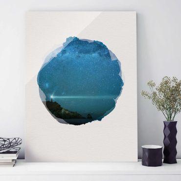Glasbild - Wasserfarben - Leuchtturm - Hochformat 4:3