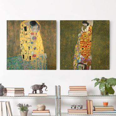 Leinwandbild 2-teilig - Gustav Klimt - Kuss und Hoffnung - Quadrate 1:1