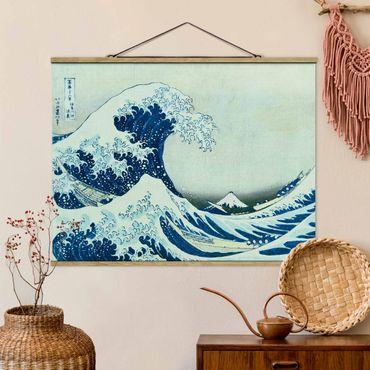 Stoffbild mit Posterleisten - Katsushika Hokusai - Die grosse Welle von Kanagawa - Querformat 3:4