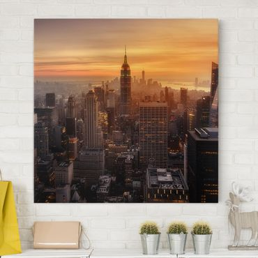 Leinwandbild - Manhattan Skyline Abendstimmung - Quadrat 1:1