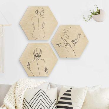Hexagon Bild Holz 3-teilig - Line Art Frauen Akt Schwarz Weiß Set