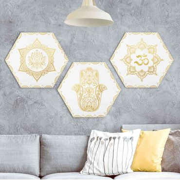 Hexagon Bild Forex 3-teilig - Hamsa Hand Lotus OM Illustration Set Gold