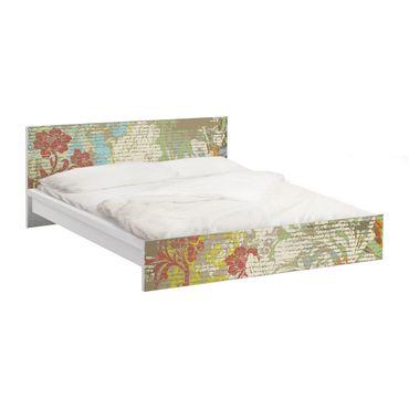 Möbelfolie für IKEA Malm Bett niedrig 180x200cm - Klebefolie Blüten vergangener Zeit