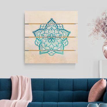 Holzbild - Mandala Hamsa Hand Lotus Set gold blau - Quadrat 1:1