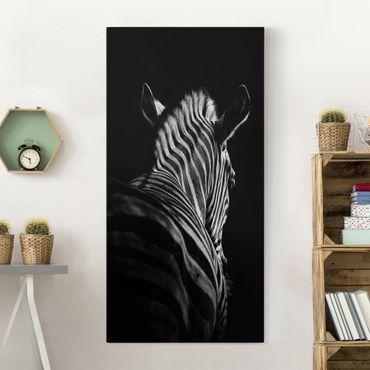 Leinwandbild - Dunkle Zebra Silhouette - Hochformat 2:1