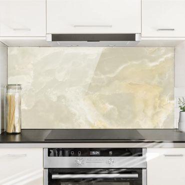 Spritzschutz Glas - Ony: Marmor Creme - Querformat - 2:1