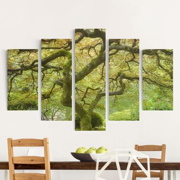 Leinwandbild 5-teilig - Grüner Japanischer Garten