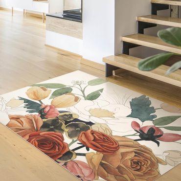 Vinyl-Teppich - Zeichnung Blumenbouquet in Rot und Sepia II - Hochformat 3:4