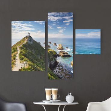 Leinwandbild 3-teilig - Nugget Point Leuchtturm und Meer Neuseeland - Collage 1