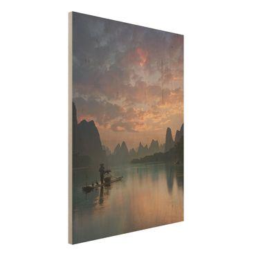 Holzbild - Sonnenaufgang über chinesischem Fluss - Hochformat 4:3