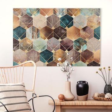 Leinwandbild - Türkise Geometrie goldenes Art Deco - Querformat 2:3