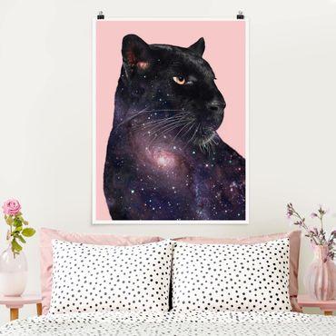 Poster - Jonas Loose - Panther mit Galaxie - Hochformat 3:4
