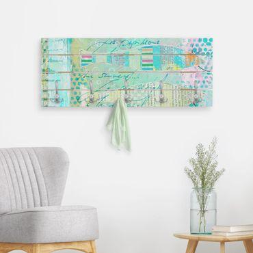 Wandgarderobe Holz - Bunte Collage - Fische und Punkte - Haken chrom Querformat
