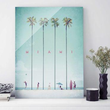 Glasbild - Reiseposter - Miami - Hochformat 4:3