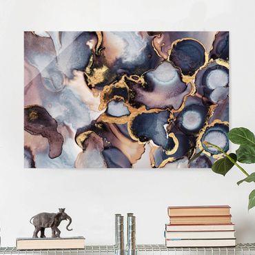 Glasbild - Marmor Aquarell mit Gold - Querformat 2:3