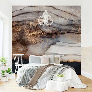 Fototapete - Goldener Marmor gemalt - Fototapete Quadrat