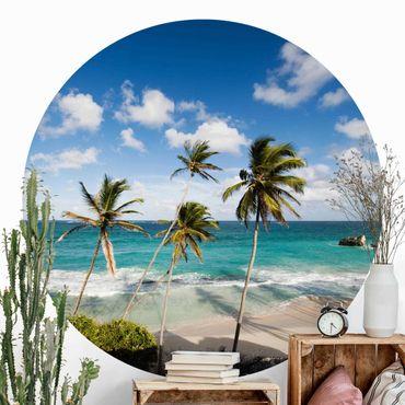 Runde Tapete selbstklebend - Beach of Barbados