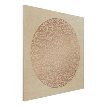 Holzbild - Mandala Ornament in Kupfergold - Quadrat 1:1