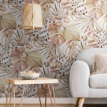 Metallic Tapete  - Beige Palmenblätter