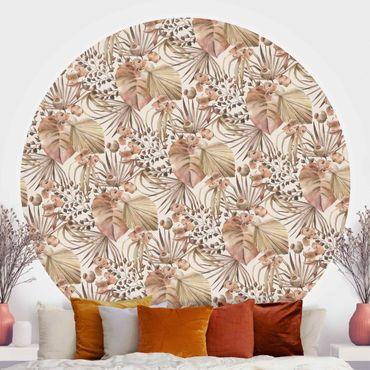 Runde Tapete selbstklebend - Beige Palmenblätter