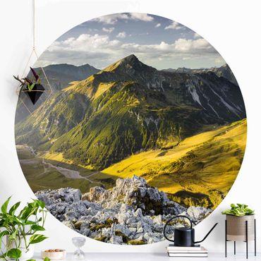 Runde Tapete selbstklebend - Berge und Tal der Lechtaler Alpen in Tirol
