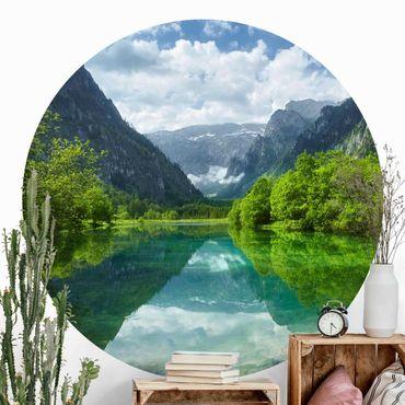 Runde Tapete selbstklebend - Bergsee mit Spiegelung
