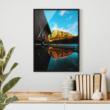 Bild mit Rahmen - Bergspiegelung in den Dolomiten - Hochformat