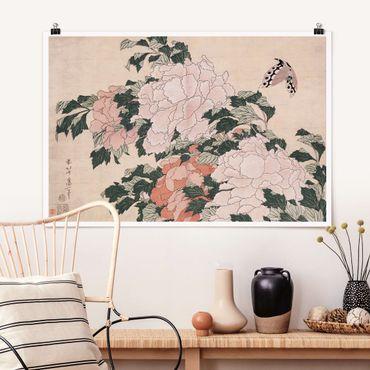 Poster - Katsushika Hokusai - Rosa Pfingstrosen mit Schmetterling - Querformat 2:3