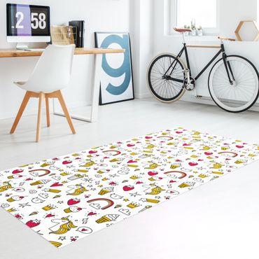 Vinyl-Teppich - Einhörner und Süßes in Gelb und Rot - Hochformat 1:2