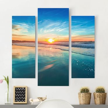 Leinwandbild 3-teilig - Romantischer Sonnenuntergang am Meer - Galerie Triptychon