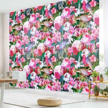 Schiebegardinen Set - Bunte Tropische Blumen mit Vögeln Pink - 6 Flächenvorhänge