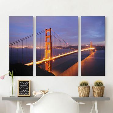 Leinwandbild 3-teilig - Golden Gate Bridge bei Nacht - Triptychon