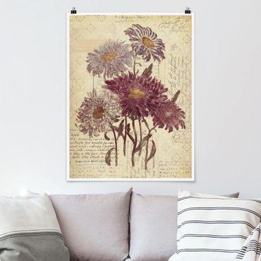 Poster - Vintage Blumen mit Handschrift - Hochformat 3:4