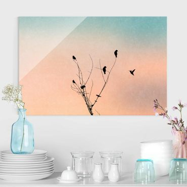 Glasbild - Vögel vor rosa Sonne II - Querformat 2:3