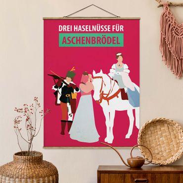 Stoffbild mit Posterleisten - Filmposter Drei Haselnüsse für Aschebrödel - Hochformat 4:3