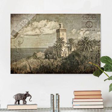 Glasbild - Vintage Postkarte mit Leuchtturm und Palmen - Querformat 2:3