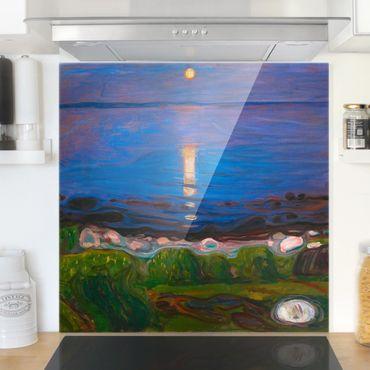 Spritzschutz Glas - Edvard Munch - Sommernacht am Meeresstrand - Quadrat 1:1