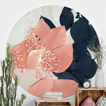 Runde Tapete selbstklebend - Blätter Indigo & Rouge III