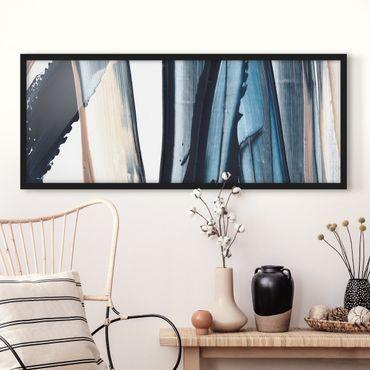 Bild mit Rahmen - Blau und Beige Streifen - Panorama