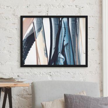 Bild mit Rahmen - Blau und Beige Streifen - Querformat