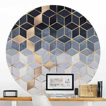 Runde Tapete selbstklebend - Blau Weiß goldene Geometrie