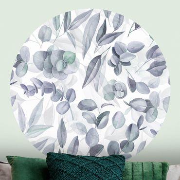 Runde Tapete selbstklebend - Blaue Eukalyptus Aquarellblätter