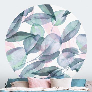 Runde Tapete selbstklebend - Blaue und Rosane Eukalyptus Aquarellblätter