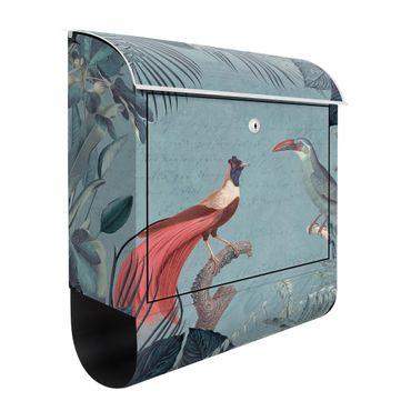 Briefkasten - Blaugraues Paradies mit tropischen Vögeln