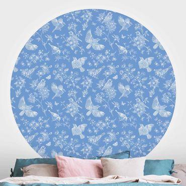 Runde Tapete selbstklebend - Blaumeisen vor Blau