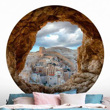 Runde Tapete selbstklebend - Blick auf ein Kloster