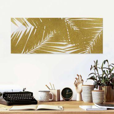 Glasbild - Blick durch goldene Palmenblätter - Panorama