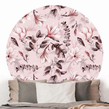 Runde Tapete selbstklebend - Blüten mit Grauen Blättern vor Rosa