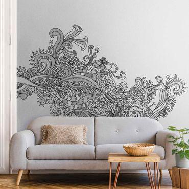 Metallic Tapete  - Blütenrausch Schwarz-Weiß